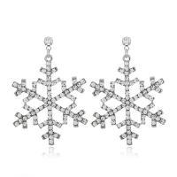 Zinklegierung Ohrringe, Schneeflocke, silberfarben plattiert, für Frau, frei von Nickel, Blei & Kadmium, 30x50mm, verkauft von Paar