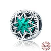 Thailand European Perlen, mit Kristall, flache Runde, Micro pave Zirkonia & ohne troll & facettierte, 12x12mm, Bohrung:ca. 4.5-5mm, verkauft von PC