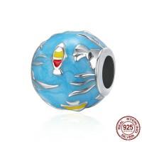 925 Sterlingsilber European Perlen, 925 Sterling Silber, Trommel, für Frau & ohne troll & Emaille, 11x11mm, Bohrung:ca. 4.5-5mm, verkauft von PC