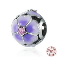 Thailand European Perlen, Blume, für Frau & ohne troll & Emaille & mit kubischem Zirkonia, 11x13mm, Bohrung:ca. 4.5-5mm, verkauft von PC