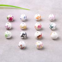 Porzellan Perle, rund, Aufkleber, gemischte Farben, 12mm, Bohrung:ca. 2mm, verkauft von PC