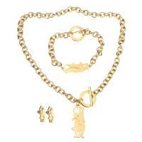 Edelstahl Mode Schmuckset, Armband & Ohrring & Halskette, Paar, goldfarben plattiert, Oval-Kette & für Frau, 17x42mm, 8mm, 38x14mm, 8mm, 9x22mm, Länge:ca. 18 ZollInch, ca. 8 ZollInch, verkauft von setzen