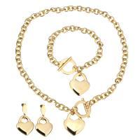 Edelstahl Mode Schmuckset, Armband & Ohrring & Halskette, Herz, goldfarben plattiert, Armband  Bettelarmband & Oval-Kette & für Frau, 25x29mm, 8mm, 25x29mm, 8mm, 45mm, 25x29mm, Länge:ca. 17 ZollInch, ca. 7 ZollInch, verkauft von setzen