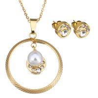 Edelstahl Mode Schmuckset, Ohrring & Halskette, mit Glasperlen, goldfarben plattiert, Oval-Kette & für Frau & mit Strass, 29x32mm, 1mm, 10mm, Länge:ca. 17 ZollInch, verkauft von setzen