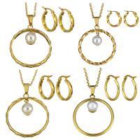 Edelstahl Mode Schmuckset, Ohrring & Halskette, mit Glasperlen, mit Verlängerungskettchen von 2Inch, goldfarben plattiert, Oval-Kette & verschiedene Stile für Wahl & für Frau, Länge:ca. 17 ZollInch, verkauft von setzen