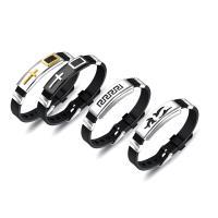 Edelstahl Schmuck Armband, Titanstahl, mit Silikon, plattiert, verschiedene Stile für Wahl & für den Menschen, verkauft per ca. 8.5 ZollInch Strang