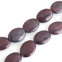 Jaspis Brekzien Perlen, Jaspis Brecciated, flachoval, natürliche, 30x22x7mm, Bohrung:ca. 0.7mm, ca. 13PCs/Strang, verkauft per ca. 15 ZollInch Strang