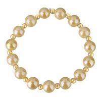 Glasperlen Armband, Glas, rund, für Frau, gelb, 10mm, 4mm, verkauft per ca. 7 ZollInch Strang