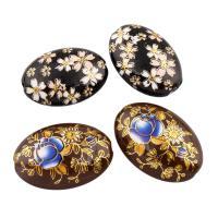 Harz Schmuckperlen, oval, Kunstdruck, verschiedene Stile für Wahl & mit Blumenmuster, Bohrung:ca. 1mm, 2PCs/Tasche, verkauft von Tasche