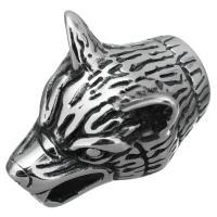 Edelstahl Armband Zubehör, Wolf, Schwärzen, 18x27x16.50mm, Bohrung:ca. 8x7.5mm, 10PCs/Menge, verkauft von Menge