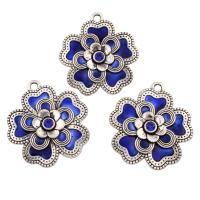 Zinklegierung Blume Anhänger, antik silberfarben plattiert, 5 Blütenblatt & Emaille & mit Strass, blau, frei von Blei & Kadmium, 51x56x6mm, Bohrung:ca. 4mm, verkauft von PC