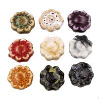 Glasierte Porzellan Perlen, Blume, glaciert, keine, 16x17x6mm, Bohrung:ca. 2mm, 100PCs/Tasche, verkauft von Tasche