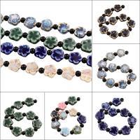 Glasierte Porzellan Perlen, Blume, glaciert, keine, 16x16x7mm, Bohrung:ca. 2mm, 10PCs/Strang, 10SträngeStrang/Tasche, verkauft per ca. 8 ZollInch Strang