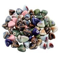 Glasierte Porzellan Perlen, Dreieck, glaciert, keine, 13x14mm, Bohrung:ca. 3mm, 100PCs/Tasche, verkauft von Tasche