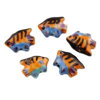 Porzellan Schmuckperlen, Fisch, glaciert, 17x14x6mm, Bohrung:ca. 1mm, 100PCs/Tasche, verkauft von Tasche