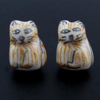 Porzellan Schmuckperlen, Katze, glaciert, 13x18x8mm, Bohrung:ca. 1mm, 100PCs/Tasche, verkauft von Tasche