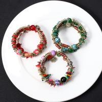Glas Armband, mit Holz & Zinklegierung, für Frau & 3-Strang, keine, 3-8mm, verkauft per ca. 7.5 ZollInch Strang