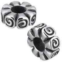 Edelstahl-Perlen mit großem Loch, Edelstahl, ohne troll & Schwärzen, 13x5x13mm, Bohrung:ca. 5mm, 10PCs/Menge, verkauft von Menge