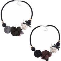 Zinklegierung Halskette, mit Nylonschnur & Baumwollsamt & Kunststoff Perlen, mit Verlängerungskettchen von 1.9lnch, plattiert, für Frau & mit Strass, keine, frei von Nickel, Blei & Kadmium, 50mm, verkauft per ca. 18.8 ZollInch Strang