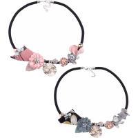 Zinklegierung Halskette, mit Nylonschnur & Baumwollsamt & Kunststoff Perlen, mit Verlängerungskettchen von 1.9lnch, plattiert, für Frau & mit Strass, keine, frei von Nickel, Blei & Kadmium, 40mm, verkauft per ca. 18.5 ZollInch Strang