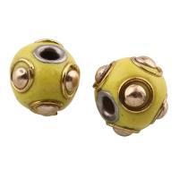 Indonesien Perlen, mit Zinklegierung, Olive, plattiert, frei von Blei & Kadmium, 11x13mm, Bohrung:ca. 3mm, verkauft von PC