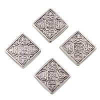 Verkupfertes Kunststoff-Perlen, Verkupferter Kunststoff, Squaredelle, antik silberfarben plattiert, 20x20mm, Bohrung:ca. 1mm, 20PCs/Tasche, verkauft von Tasche