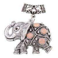 Zinklegierung Tier Anhänger, Elephant, antik silberfarben plattiert, mit Strass, frei von Blei & Kadmium, 48x55x6mm, Bohrung:ca. 7mm, verkauft von PC