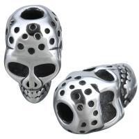 Edelstahl-Perlen mit großem Loch, Edelstahl, Schädel, Schwärzen, 10x17x11mm, Bohrung:ca. 3.5mm, 10PCs/Menge, verkauft von Menge