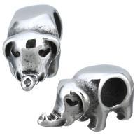 Edelstahl-Perlen mit großem Loch, Edelstahl, Elephant, Schwärzen, 7x9x15mm, Bohrung:ca. 2mm, 10PCs/Menge, verkauft von Menge