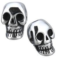 Edelstahl Perlen Einstellung, Schädel, Schwärzen, 8.50x13x6mm, Bohrung:ca. 5mm, 3.5mm, Innendurchmesser:ca. 3mm, 10PCs/Menge, verkauft von Menge