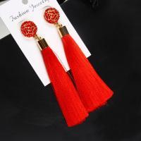 Mode-Fringe-Ohrringe, Zinklegierung, mit Baumwolle Schnur, goldfarben plattiert, für Frau & Emaille & mit Strass, keine, 25mm, 90mm, verkauft von Paar
