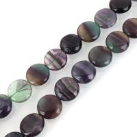 lila Fluorit Perle, flache Runde, verschiedene Größen vorhanden, Bohrung:ca. 1.5mm, verkauft per ca. 15 ZollInch Strang