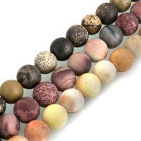 Edelstein Schmuckperlen, rund, verschiedenen Materialien für die Wahl & verschiedene Größen vorhanden & satiniert, Bohrung:ca. 0.5mm, verkauft per ca. 15 ZollInch Strang