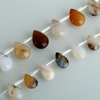 Schwarzer Achat Perle, Tropfen, verschiedene Größen vorhanden, verkauft per ca. 15.5 ZollInch Strang