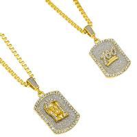Edelstahl Pullover Halskette, mit Zinklegierung Anhänger, goldfarben plattiert, unisex & Kastenkette & verschiedene Stile für Wahl & mit Strass & Falten, 22x48mm, verkauft per ca. 30 ZollInch Strang