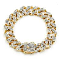 Messing Armband, vergoldet, unisex & Micro pave Zirkonia, 14mm, verkauft per ca. 8 ZollInch Strang