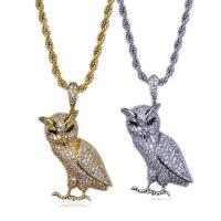 Messing Pullover Halskette, mit Edelstahl Kette, Eule, plattiert, Seil-Kette & Micro pave Zirkonia & für Frau, keine, 29x45mm, verkauft per ca. 23.6 ZollInch Strang