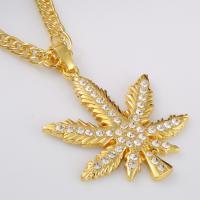 Zinklegierung Pullover Halskette, Ahornblatt, plattiert, Seil-Kette & für Frau & mit Strass, keine, frei von Nickel, Blei & Kadmium, 64x71mm, verkauft per ca. 31.5 ZollInch Strang