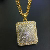 Zinklegierung Pullover Halskette, Rechteck, goldfarben plattiert, unisex & Twist oval & mit Strass, frei von Nickel, Blei & Kadmium, 5mm, verkauft per ca. 29.5 ZollInch Strang