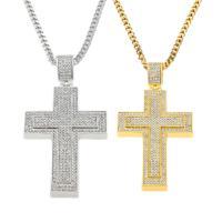 Zinklegierung Pullover Halskette, mit Messingkette, Kreuz, plattiert, unisex & Kandare Kette & mit Strass, keine, frei von Nickel, Blei & Kadmium, 50x90mm, verkauft per ca. 27.5 ZollInch Strang