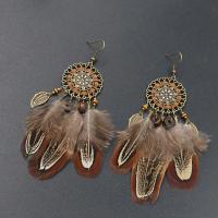 Zinklegierung Tropfen Ohrring, mit Feder & Holz, Eisen Haken, Federn, antike Bronzefarbe plattiert, für Frau & mit Strass, frei von Blei & Kadmium, 45x115mm, verkauft von Paar