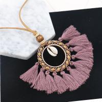 Zinklegierung Pullover Halskette, mit Caddice & Wollschnur & Trompete Muschel, QuasteTroddel, antike Bronzefarbe plattiert, für Frau, keine, frei von Blei & Kadmium, 85x100mm, verkauft per ca. 35 ZollInch Strang