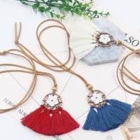Zinklegierung Pullover Halskette, mit Caddice & Wollschnur & Weiße Muschel, QuasteTroddel, antike Kupferfarbe plattiert, für Frau, keine, frei von Blei & Kadmium, 75x80mm, verkauft per ca. 35 ZollInch Strang