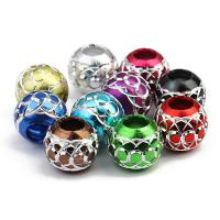 Aluminium Perlen, Trommel, Spritzlackierung, großes Loch, gemischte Farben, 9.5x10.5mm, Bohrung:ca. 4.5mm, 30PCs/Tasche, verkauft von Tasche