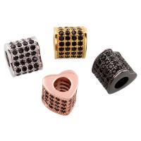 Befestigte Zirkonia Perlen, Messing, Herz, plattiert, Micro pave Zirkonia, keine, frei von Nickel, Blei & Kadmium, 7.50x7x7mm, Bohrung:ca. 3x3mm, verkauft von PC