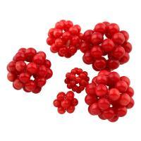 Natürliche Koralle Cluster Perlenball, rund, verschiedene Größen vorhanden, rot, 5PCs/Tasche, verkauft von Tasche