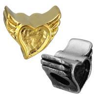 Edelstahl European Perlen, Flügelform, plattiert, ohne troll, keine, 12x11x9mm, Bohrung:ca. 5mm, 10PCs/Tasche, verkauft von Tasche