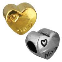 Edelstahl European Perlen, Herz, Wort mom, plattiert, ohne troll, keine, 12x11x8mm, Bohrung:ca. 5mm, 10PCs/Tasche, verkauft von Tasche