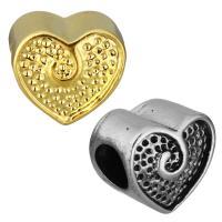Edelstahl Europa Beads Einstellung, Herz, plattiert, ohne troll, keine, 11.50x10.50x9mm, Bohrung:ca. 5mm, Innendurchmesser:ca. 0.5mm, 10PCs/Tasche, verkauft von Tasche