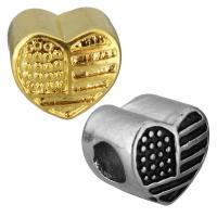 Edelstahl European Perlen, Herz, plattiert, ohne troll, keine, 11.50x10x9.50mm, Bohrung:ca. 5mm, 10PCs/Tasche, verkauft von Tasche